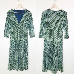 Boden Olive Print Faux Wrap Midi Dress Retro Style